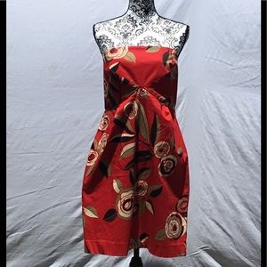 NYC Stretch Strapless Red Floral printed Dress.
